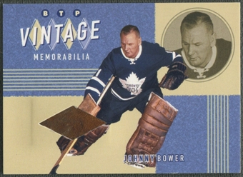 2002/03 Between the Pipes #1 Johnny Bower Vintage Memorabilia Pad /20