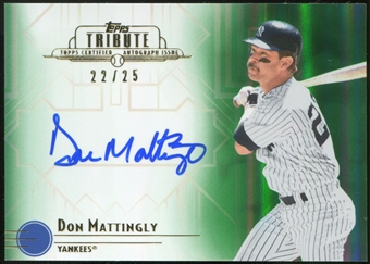 2014 Topps Tribute Autographs Green #TADMA Don Mattingly 22/25