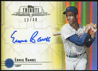 2014 Topps Tribute Autographs Yellow #TAEB Ernie Banks 12/30