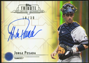 2014 Topps Tribute Autographs Yellow #TAJP Jorge Posada 18/30