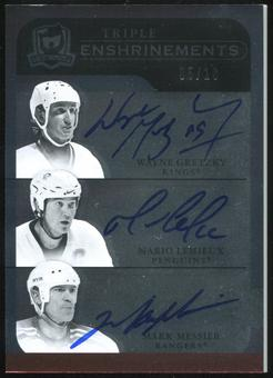 2011/12 Upper Deck The Cup Enshrinements Triple #CE3CPT Wayne Gretzky/Mario Lemieux/Mark Messier 5/10