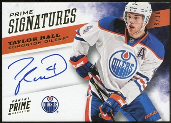 2012-13 Panini Prime Signatures Gold #65 Taylor Hall Hard Signed Serial #8/10