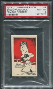 1947 D. Cummings & Sons Boxing #3 Bruce Woodcock Famous Fighters PSA 8 (NM-MT)