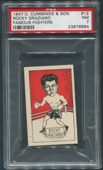 1947 D. Cummings & Sons Boxing #12 Rocky Graziano Famous Fighters PSA 7 (NM)