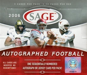 2006 Sage Autographed Football Hobby Box