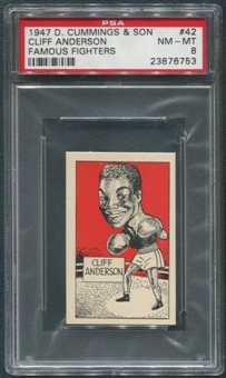 1947 D. Cummings & Sons Boxing #42 Cliff Anderson Famous Fighters PSA 8 (NM-MT)