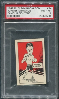 1947 D. Cummings & Sons Boxing #54 Johnny McManus Famous Fighters PSA 8 (NM-MT)