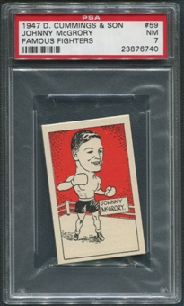 1947 D. Cummings & Sons Boxing #59 Johnny McGrory Famous Fighters PSA 7 (NM)