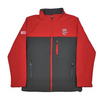 Wisconsin Badgers Colosseum Red & Grey Yukon II Softshell Full Zip Jacket (Adult S)