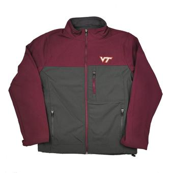 Virginia Tech Hokies Colosseum Maroon & Gray Yukon II Softshell Full Zip Jacket (Adult M)