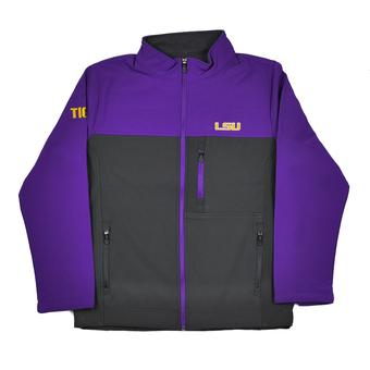 LSU Tigers Colosseum Purple & Grey Yukon II Softshell Full Zip Jacket (Adult XXL)