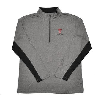 Texas Tech Red Raiders Colosseum Grey Stinger 1/4 Performance Long Sleeve Tee Shirt (Adult XL)