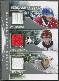 2010/11 ITG Heroes and Prospects #PT1 PK Subban Louis LeBlanc Lars Eller Prospect Trios Silver Jersey /30