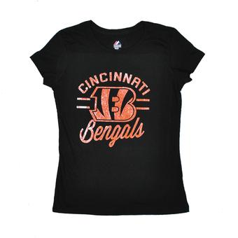 Cincinnati Bengals Majestic Black Forward Progress III Tee Shirt (Womens XL)