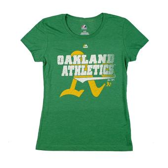 Oakland Athletics Majestic Green Take That Dual Blend Tee Shirt (Womens S)