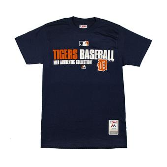 Detroit Tigers Majestic Navy Team Favorite Dual Blend Tee Shirt (Adult L)
