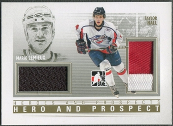 2009/10 ITG Heroes and Prospects #HP04 Mario Lemieux & Taylor Hall Hero and Prospect Gold Jersey /10