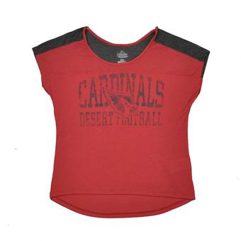 Arizona Cardinals Majestic Maroon & Grey Play For Me Tee Shirt (Womens S)