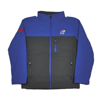 Kansas Jayhawks Colosseum Blue & Grey Yukon II Softshell Full Zip Jacket (Adult XXL)