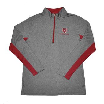 Harvard Crimson Colosseum Grey Stinger 1/4 Performance Long Sleeve Tee Shirt (Adult XL)