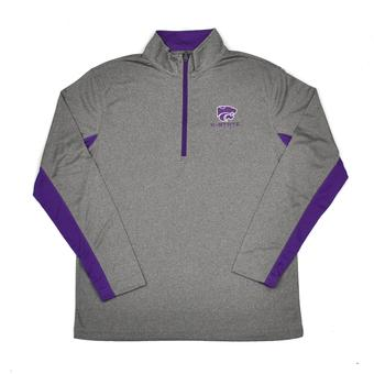 Kansas State Wildcats Colosseum Grey Stinger 1/4 Performance Long Sleeve Tee Shirt (Adult XL)