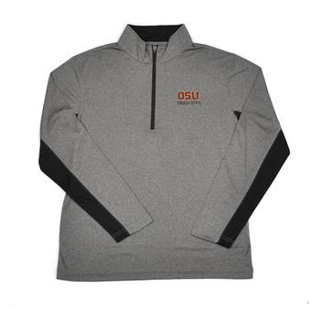Oregon State Beavers Colosseum Grey Stinger 1/4 Performance Long Sleeve Tee Shirt (Adult XL)