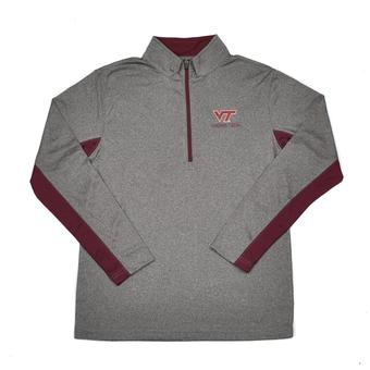 Virginia Tech Hokies Colosseum Grey Stinger 1/4 Performance Long Sleeve Tee Shirt (Adult XXL)