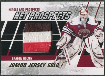 2010/11 ITG Heroes and Prospects #NPM08 Braden Holtby Net Prospects Jumbo Gold Jersey /10