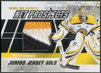 2010/11 ITG Heroes and Prospects #NPM09 Philipp Grubauer Net Prospects Jumbo Gold Jersey /10