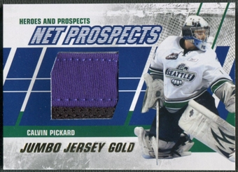 2010/11 ITG Heroes and Prospects #NPM02 Calvin Pickard Net Prospects Jumbo Jersey Gold /10