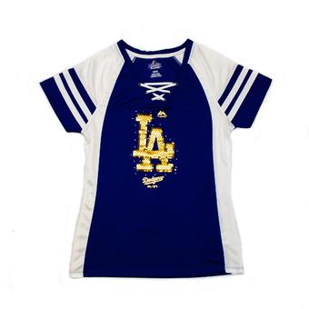 Los Angeles Dodgers Majestic Blue Draft Me V-Neck Lace Up Tee (Womens M)