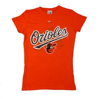 Baltimore Orioles Majestic Orange Hype-Tastic Tee Shirt (Womens S)