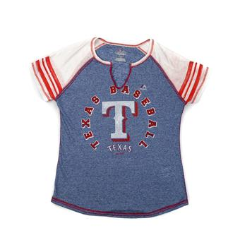 Texas Rangers Majestic Navy More Than Enough Tee Shirt (Womens M)