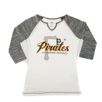 Pittsburgh Pirates Majestic Black & White Victory is Sweet 3/4 Sleeve Tee Shirt (Womens S)