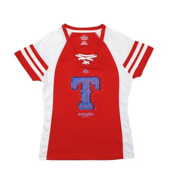 Texas Rangers Majestic Red Draft Me V-Neck Lace Up Tee Shirt (Womens S)