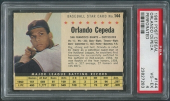 1961 Post Baseball #144 Orlando Cepeda Perforated PSA 4 (VG-EX)