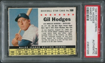 1961 Post Baseball #168 Gil Hodges Hand Cut PSA Authentic