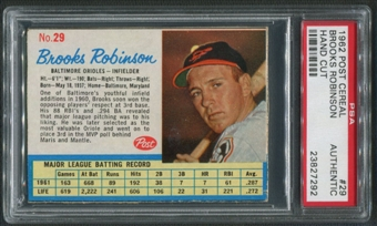 1962 Post Baseball #29 Brooks Robinson Hand Cut PSA Authentic