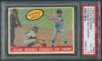 1959 Topps Baseball #463 Al Kaline Becomes Youngest Bat Champ PSA 6 (EX-MT)