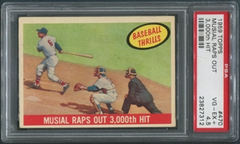 1959 Topps Baseball #470 Stan Musial Raps Out 3,000th Hit PSA 4.5 (VG-EX+)
