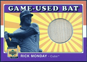 2001 Upper Deck Decade 1970's Game Bat #BRM Rick Monday