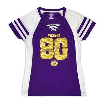 Chris Carter Minnesota Vikings Majestic Purple HOF Draft Him VII V-Neck Tee Shirt (Womens S)