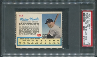 1962 Post Baseball #5 Mickey Mantle Ad Back Life Magazine PSA 3 (VG)