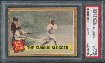 1962 Topps Baseball #138 Babe Ruth Special The Famous Slugger PSA 6 (EX-MT)
