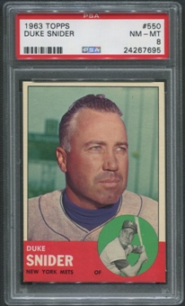 1963 Topps Baseball #550 Duke Snider PSA 8 (NM-MT)