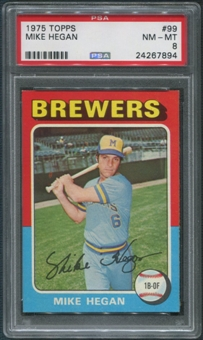 1975 Topps Baseball #99 Mike Hegan PSA 8 (NM-MT)