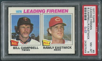1977 Topps Baseball #8 Leading Firemen Bill Campbell Rawly Eastwick PSA 8 (NM-MT)
