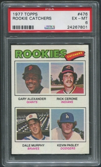 1977 Topps #476 Rookie Catchers Gary Alexander Rick Cerone Dale Murphy Kevin Pasley Rookie PSA 6 (EX-MT)