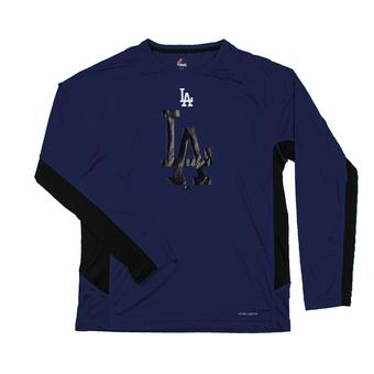 Los Angeles Dodgers Majestic Blue Batter Runner Cool Base Performance L/S Tee Shirt (Adult XL)