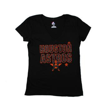 Houston Astros Majestic Black The Real Thing V-Neck Tee Shirt (Womens M)